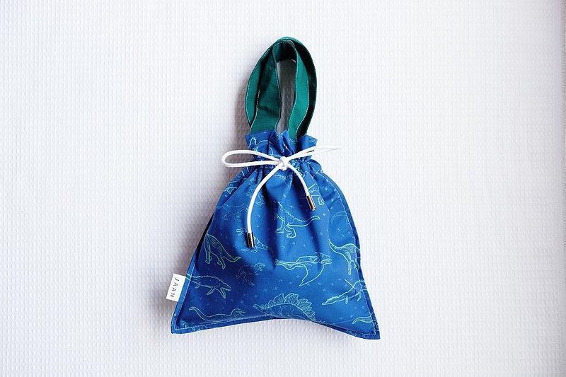 束口袋手提包     純棉 / 恐龍圖案設計 / 限量手作