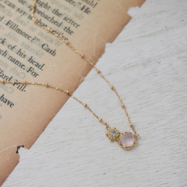 moonlight necklace K18 (Rose Quartz) [FN 157]