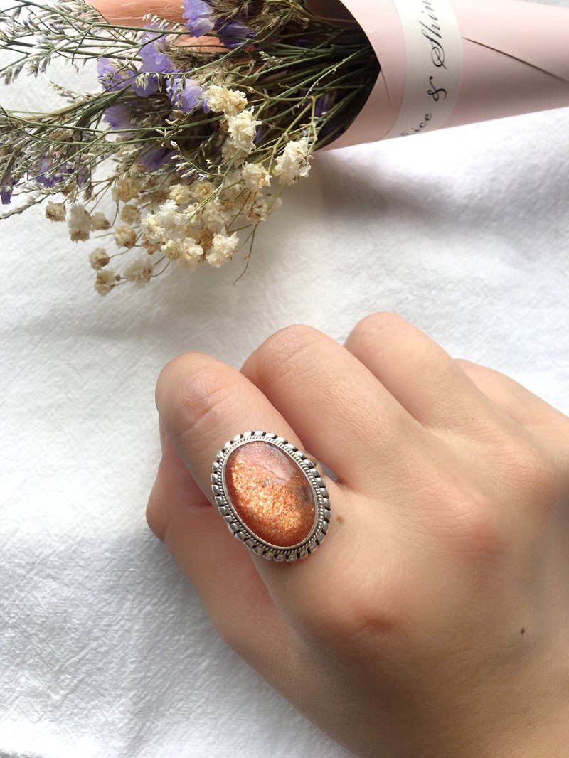 Sunstone Sunlight 925 sterling silver silver rope trim ring Nepal handmade silverware