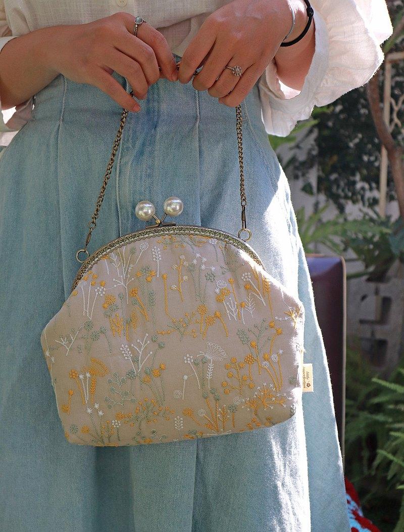 - 花本小姐 - 3way 刺繡 口金包 側背包 手提包 手拿包 送禮