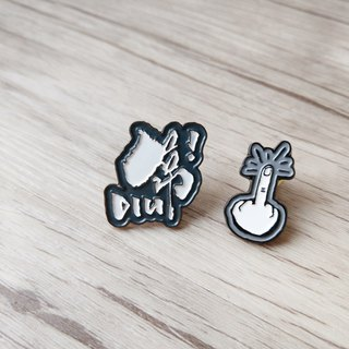 Metal Brooch - Diu! Heart Grey Finger Set
