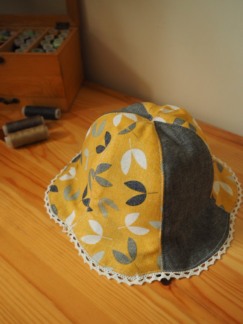 Handmade  reversible hat yellow leaves pattern and grey