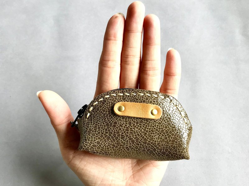 POPO │ ice crack │ palm. lightweight small purse │ real leather