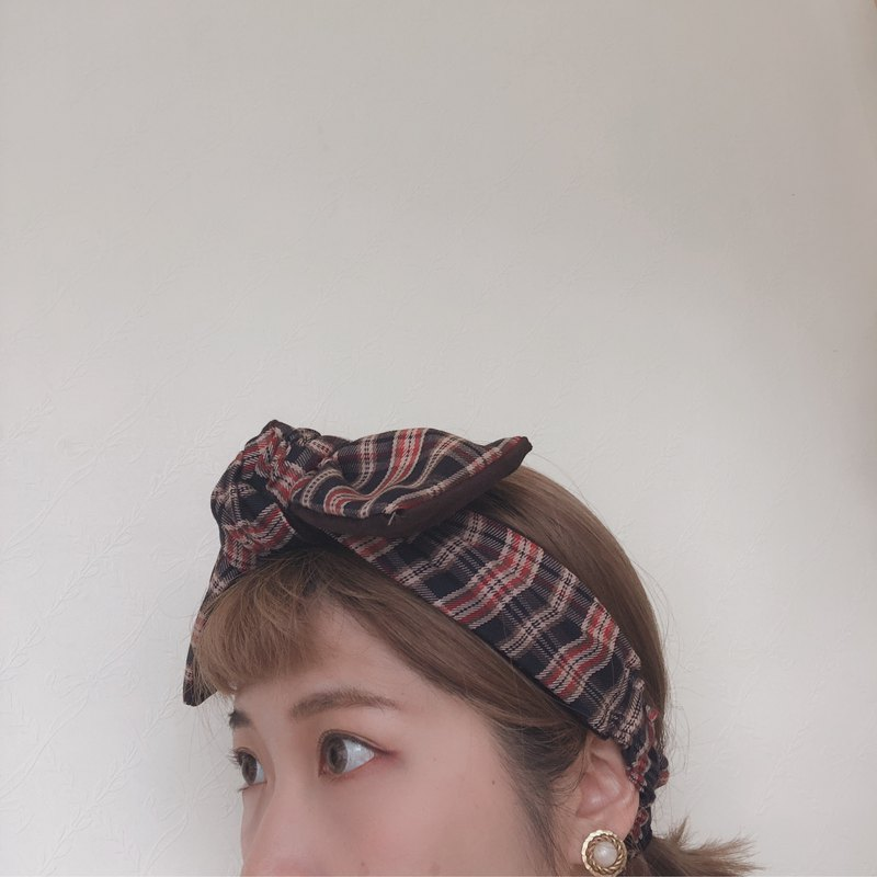 Red brown plaid big bow hair band