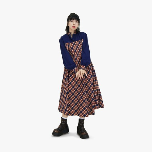 A‧PRANK: DOLLY :: retro VINTAGE brand yellow red and blue checkered umbrella-style ancient dress (D710046)