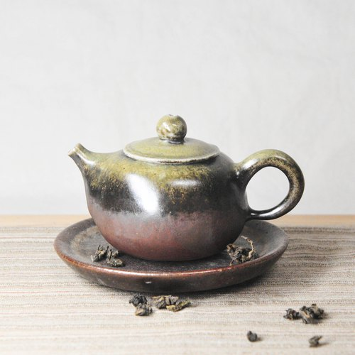 Wood burning pottery hand made. Natural contrast gradient firewood teapot