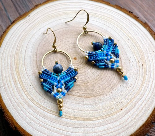 Misssheep-A51-ethnic style South American wax line braided blue stone brass bead earrings (rotary ear clip)