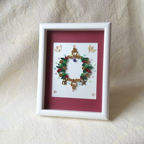 Handmade Christmas series 2 scroll framed works gift box