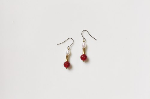 Athens Red Pearl Brass Earrings