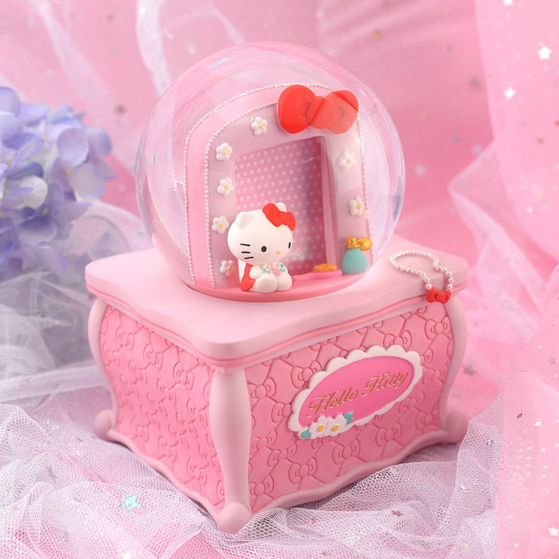 Hello Kitty Dresser Picture Frame Crystal Ball Music Bell