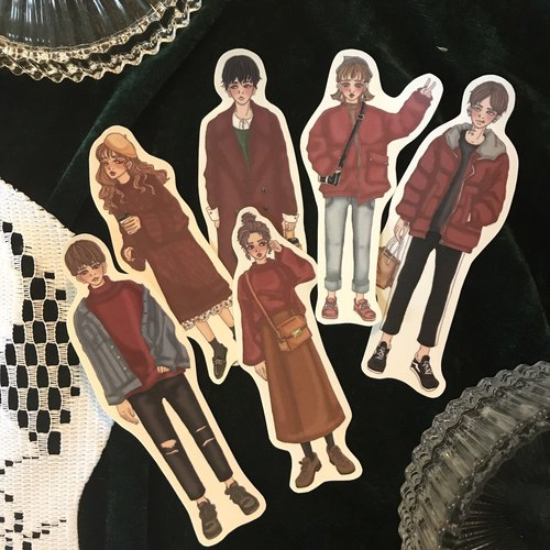 *Boys and Girls*Christmas Couples Wear 6 Sticker Sets