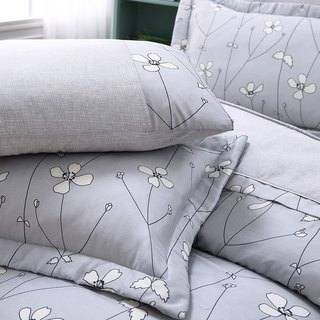 Extra large size Jane Eyre flower (gray) - Tencel dual-use bed cover six-piece group [100% lyocell]