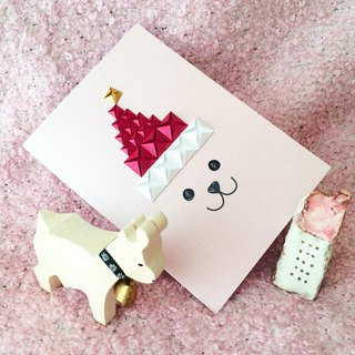 Santa Bear in Red Santa Hat X'mas Card (Pink)