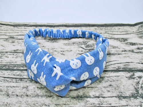 Cute rabbit (blue) Japanese double yarn handmade elastic cross hair band. Adult hair band.