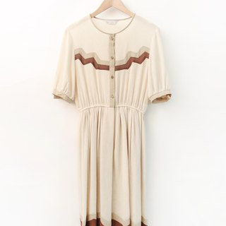 Retro Simple Geometric Mosaic Beige Short Sleeve Vintage Dress Vintage Dress