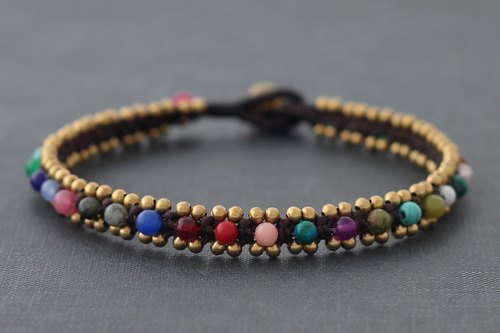 Candy Stone Woven Anklets Brass Cuff Ethnic Bohemian Tribal