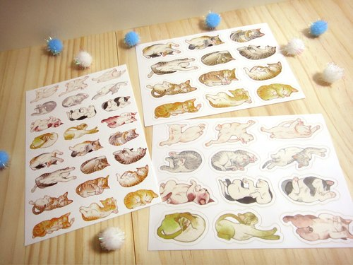 Snoring cat stickers + postcard group