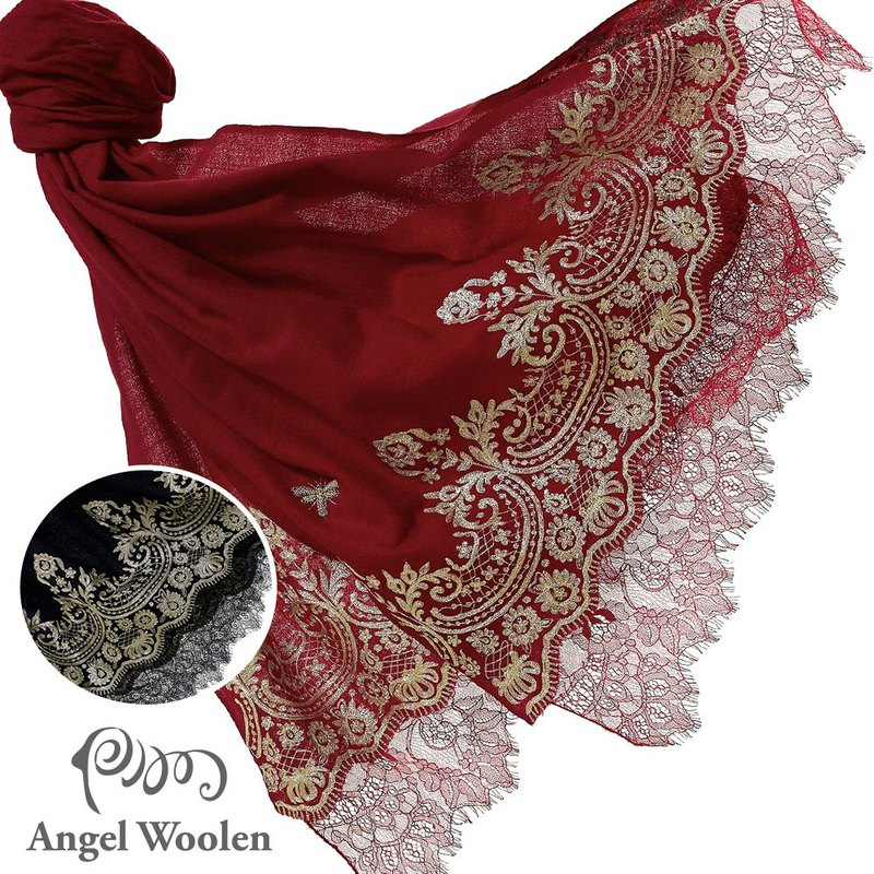 [Angel Woolen] India Pashmina handmade cashmere lace shawl Jessica's favor - red