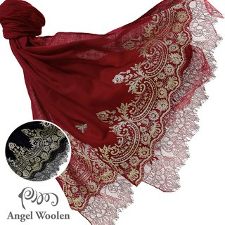[Angel Woolen] Indian Pashmina handmade cashmere lace shawl Jessica's favor - black