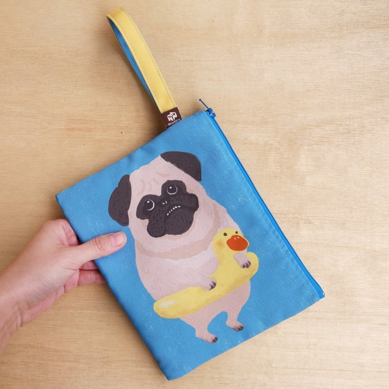 Pug getting fat canvas clutch bag
