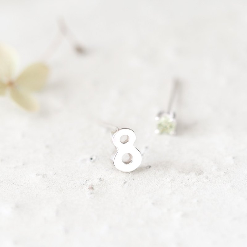 Number 8 Peridot Earrings Silver925