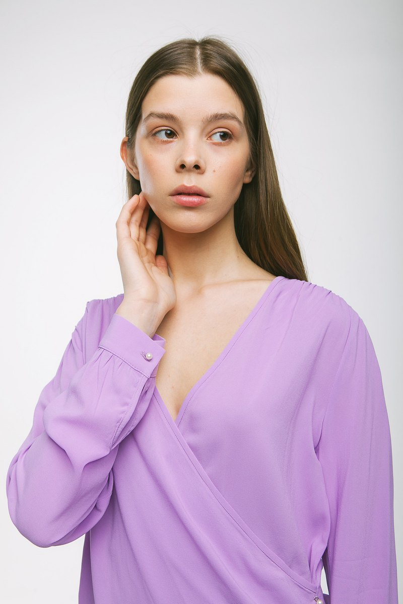 Long sleeve wrap top Lindsey in lilac