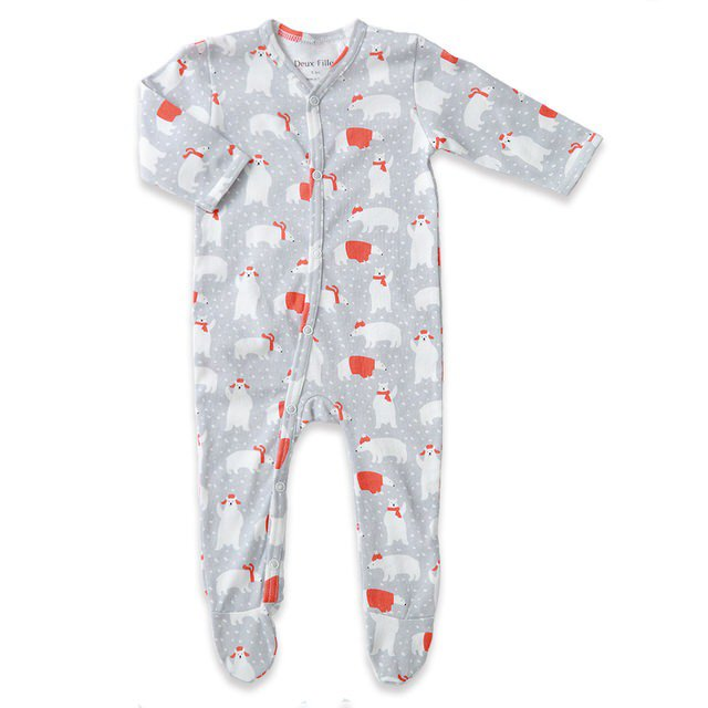 [Deux Filles organic cotton] boy polar bear foot cover