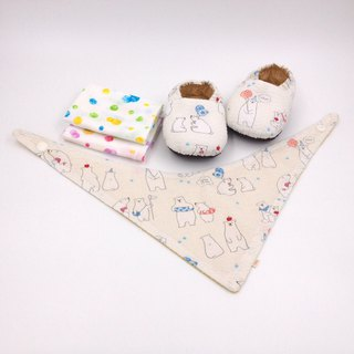 Polar bear white background - Miyue baby gift box (toddler shoes / baby shoes / baby shoes + 2 handkerchief + scarf)