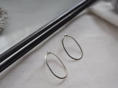 │ Geometry │ Sheet Round Earrings, Ear Pin - Sterling Silver