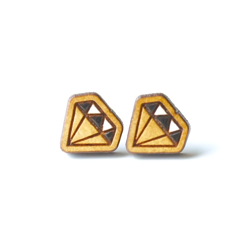 Painted wood earrings-Diamond (black)