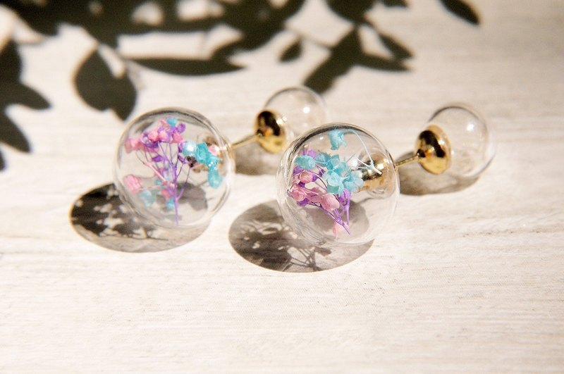 / Department of Forestry / Plant plain glass ball earrings - pink stars + dandelion Forest (ear pin)