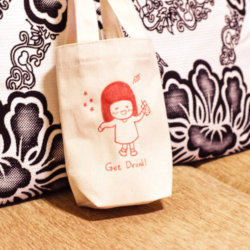Is a pig sister SUZUME / Get Drunk 100% hand-painted beverage bag canvas bag drink bag bag eco-bag pearl milk tea