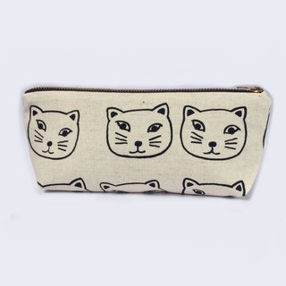 Canvas Pencil Case Small Makeup Bag - Back to School - Kawaii Cat Face
