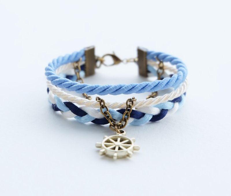 Ship wheel nautical layered bracelet in matte cornflower / cream / navy blue