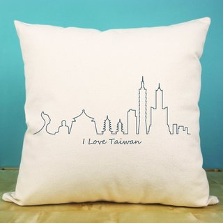 Taiwan city contour cotton canvas pillow