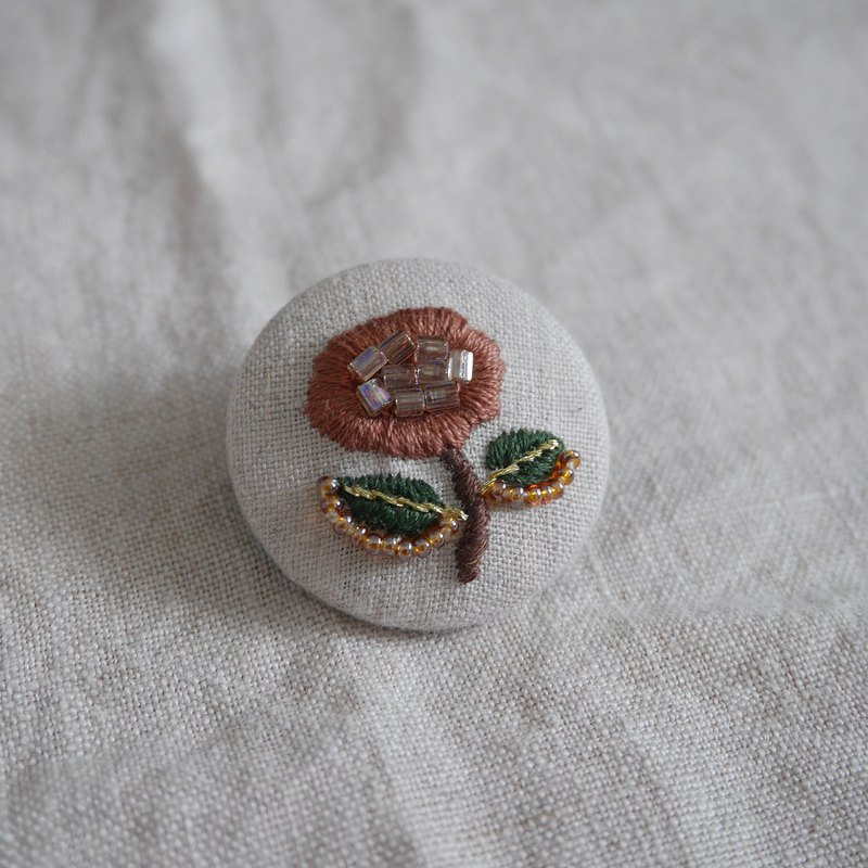 Hand-embroidered brooch beaded embroidery