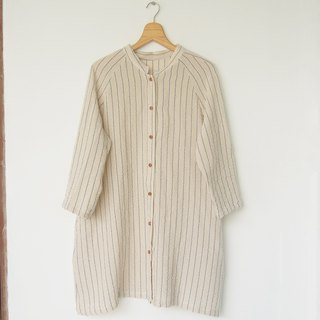 Stripe cotton shirt dress / blue x white jacket