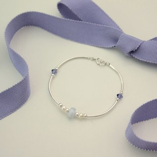 ◆hippie◆ Crepuscle│Lavender agate and crystal sterling silver bracelet / brangle jewelry