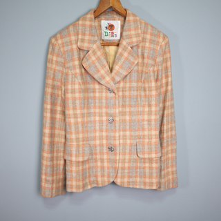 FOAK vintage spring tender orange checked wool suit jacket