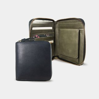 Influxx Montage Leather Bi-fold Zipper Wallet - Dark Olive Green