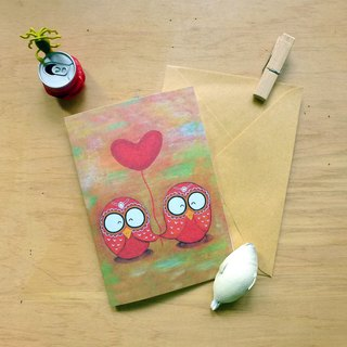 Card for ∣ Red love owl