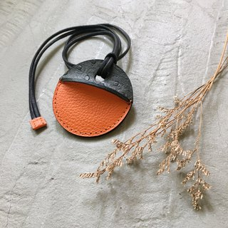 KAKU leather design gogoro key holster custom iron ash ostrich pattern + orange lychee pattern