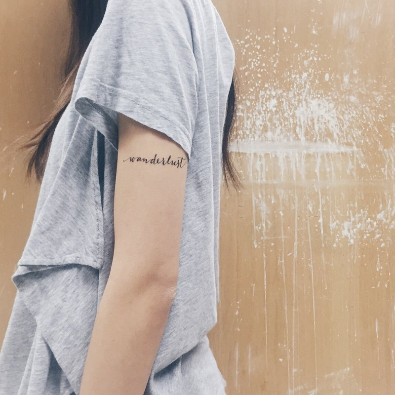 "cottontatt ""wanderlust"" calligraphy temporary tattoo sticker"