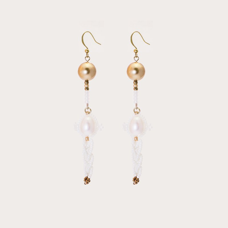 Bianca beaded pearl & brass earrings/clips