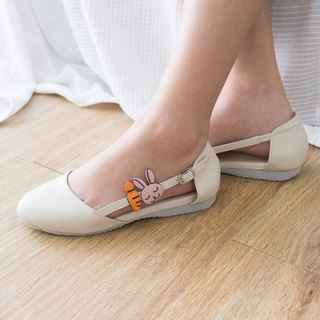 La pin white Ballet & Carrot Rubber Sole Shoe