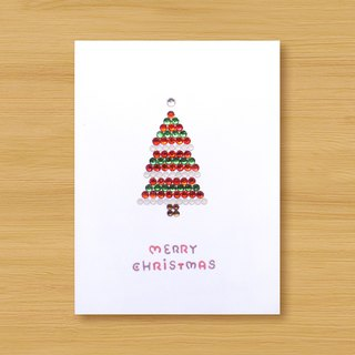 Hand-studded card _ Shiny cake Christmas tree _B