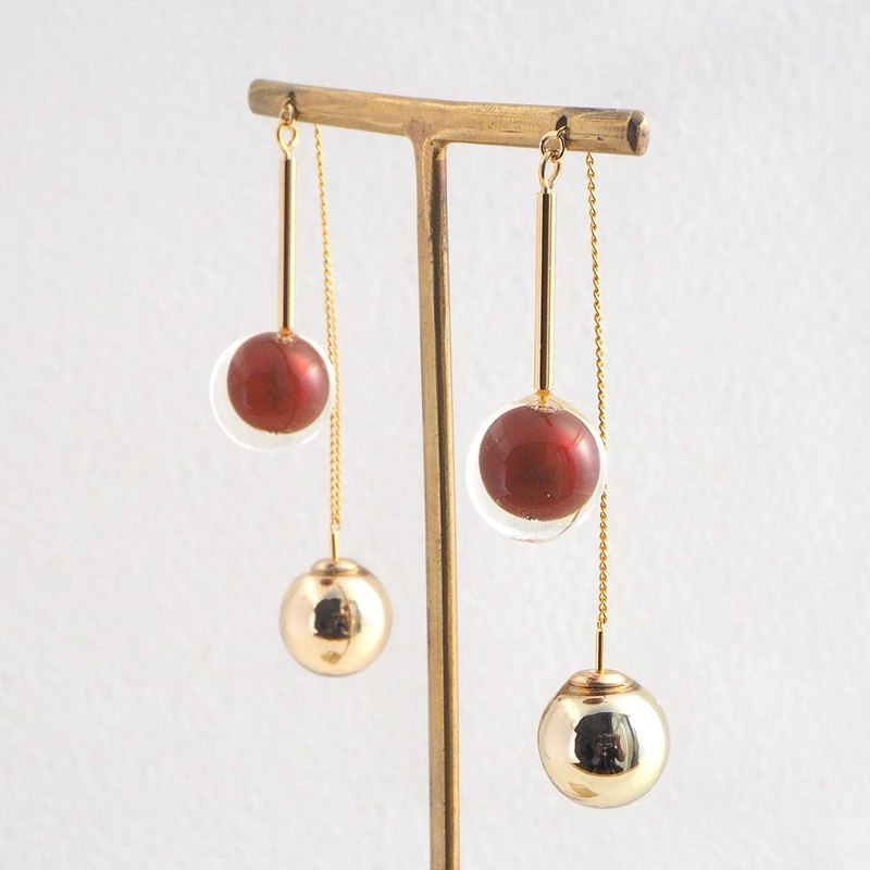 Pearl Threader Earrings Red