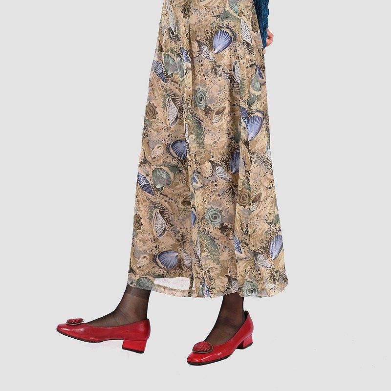 【蛋植物古著】貝殼平原印花古著寬褲裙