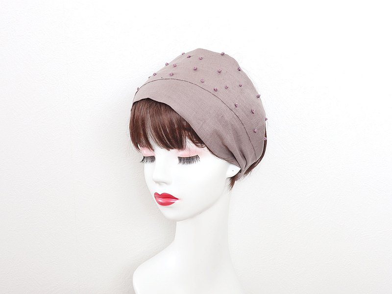 Dot embroidery linen (violet) hair band