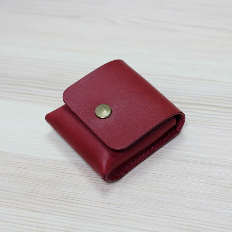 [Yingchuan hand-made] small tofu storage purse / Italian plant 鞣 cowhide / deep red